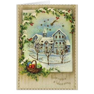 Retro italiensk jul och kort för nytt år