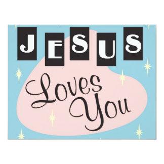 Retro - Jesus älskar dig Anpassade Inbjudningskort