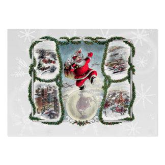 Retro julgåvamärkre set av breda visitkort