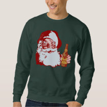 Retro jultomten med jul för en öl lång ärmad tröja
