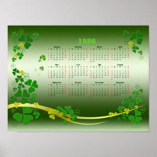 Retro kalender 1986 för lycklig Shamrock Poster