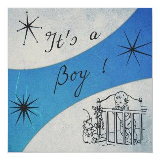 Retro känsla - det är ett pojkemeddelandekort fyrkantigt 13,3 cm inbjudningskort