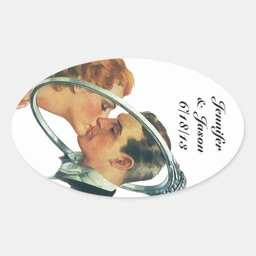 Retro klistermärkebröllop som märker med namn &, ovala klistermärken