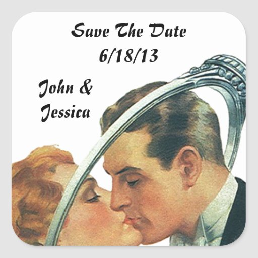Retro klistermärkebröllop spara datumnamn & fyrkantiga klistermärken