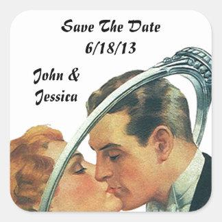 Retro klistermärkebröllop spara datumnamn datera