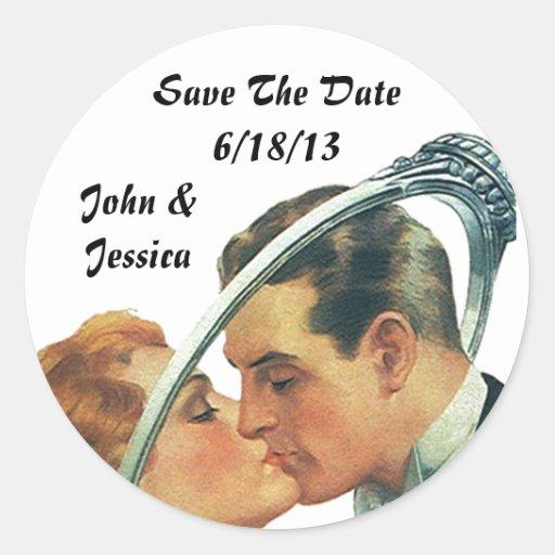 Retro klistermärkebröllop spara datumnamn & datera rund klistermärke