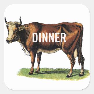 Retro konst för annons för middag för ko för fyrkantigt klistermärke