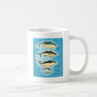 Retro konst för fisk för tonfisk för fena för kaffemugg