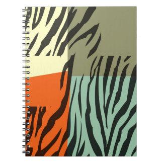 Retro konst för mönstersebrapop anteckningsbok med spiral