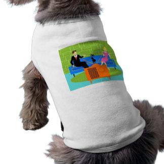 Retro koppla ihop med katthusdjurskjortan långärmad hundtöja