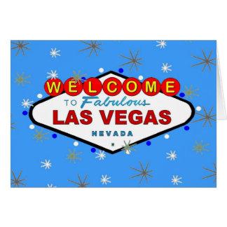 Retro kort för blåttLas Vegas god jul