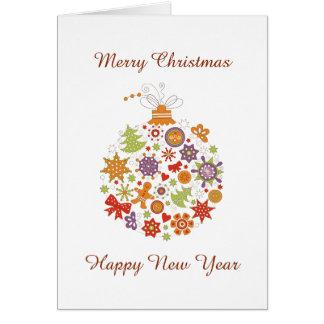 Retro kort för hälsning för julprydnadjul hälsningskort