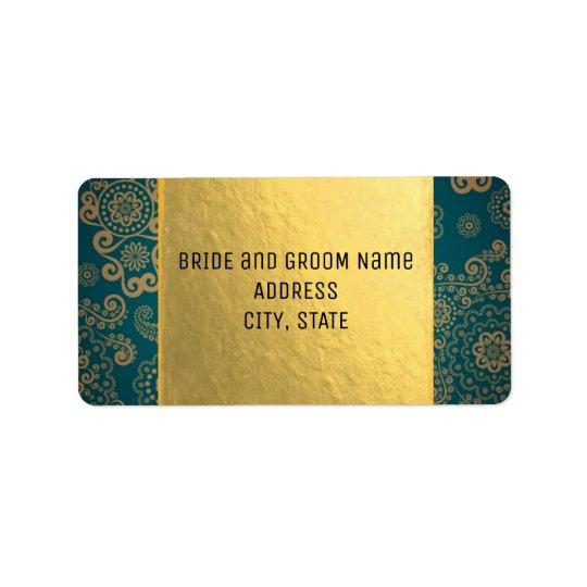 Retro kricka & guld för europé adressetikett