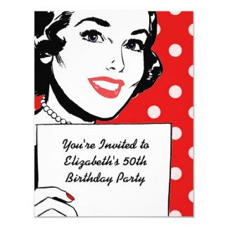 Retro kvinna med en undertecknafödelsedag 10,8 x 14 cm inbjudningskort