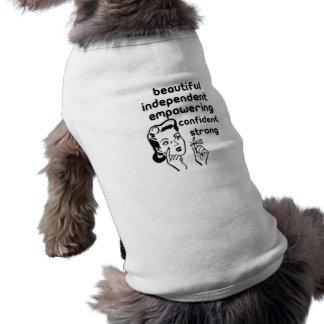 Retro kvinnafingerpilbåge som bemyndigar att t-shirt för hundar