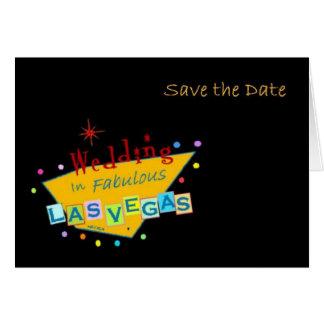 Retro Las Vegas undertecknar spara daterabröllopko Kort