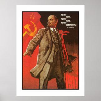 Retro Lenin affisch från den ryska revolutionen Poster