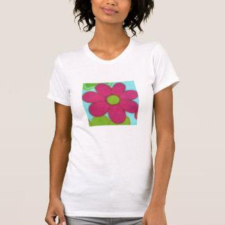 Retro ljus blomma för 70-tal t shirt