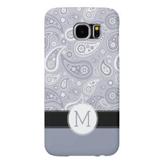 Retro ljust - grått Paisley Monogrammönster Samsung Galaxy S6 Fodral