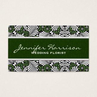 Retro lövmönster för grön Fern med vit Visitkort