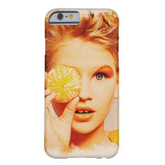 Retro Makeupskönhetflicka - den roliga orangen Barely There iPhone 6 Skal