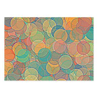 Retro mångfärgad abstrakt cirklar mönster set av breda visitkort