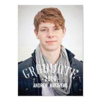 Retro manligstudentfestinbjudan 2016 12,7 x 17,8 cm inbjudningskort