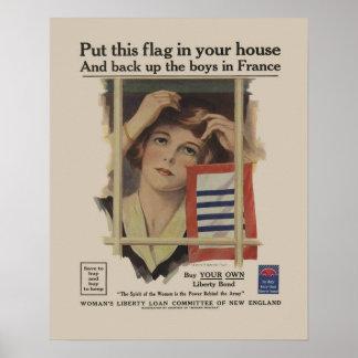 Retro militär mor WW2 för vintagefrihetförbindelse Poster