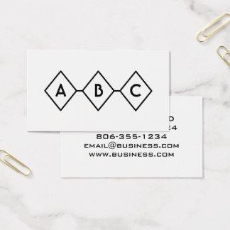 Retro modern svartvit Monogram för diamanter Visitkort
