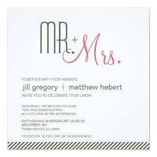 Retro modernt bröllop fyrkantigt 13,3 cm inbjudningskort