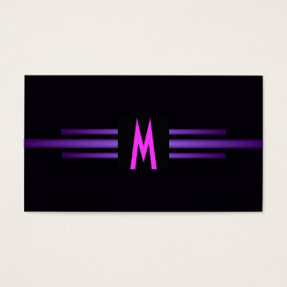 Retro Monogram rosa purpurfärgade moderna Visitkort