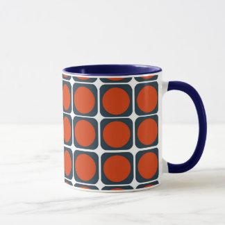 Retro mönster för 70-tal i orange & blått mugg