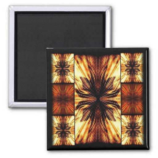 Retro mönster för orange och för brunt kylskåpsnagnet