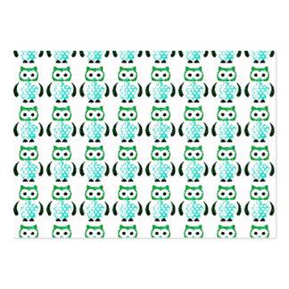 Retro mönster för vintagegröntugglor set av breda visitkort