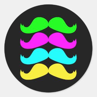 Retro Moustaches för RGB Fluo Runt Klistermärke