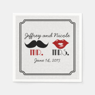 Retro mustaschpersonligt bröllp servetter