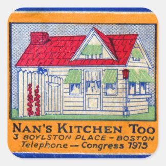 Retro Nans för vintagehötorgskonstMatchbook middag Fyrkantigt Klistermärke