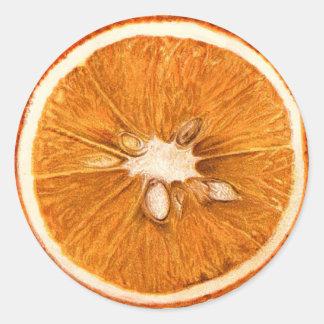 Retro orange skivarundaklistermärkear runt klistermärke
