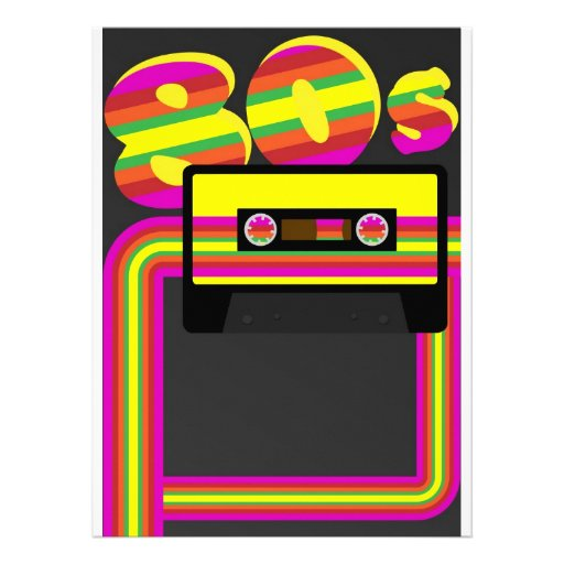 Retro party för 80-tal anpassningsbara inbjudningskort