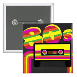Retro party för 80-tal standard kanpp fyrkantig 5.1 cm