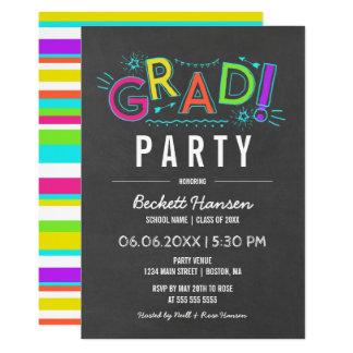 Retro party för student för svart tavla för 12,7 x 17,8 cm inbjudningskort