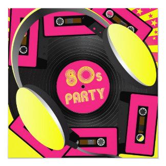Retro party fyrkantigt 13,3 cm inbjudningskort