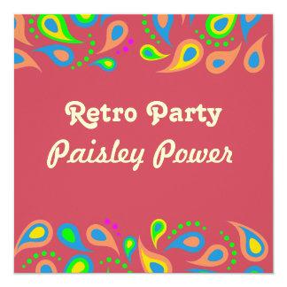 retro party - paisley mönster fyrkantigt 13,3 cm inbjudningskort
