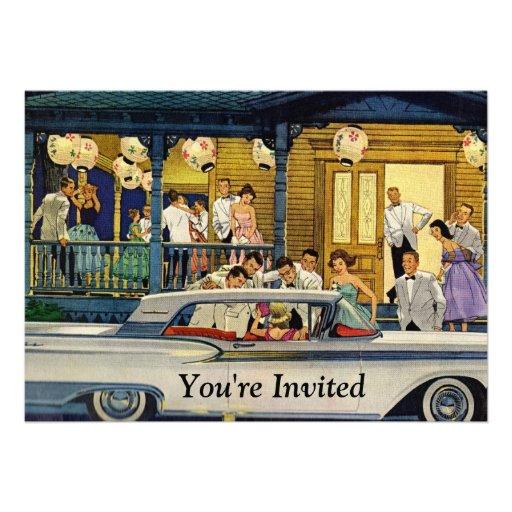 Retro party Time Kort För Inbjudningar