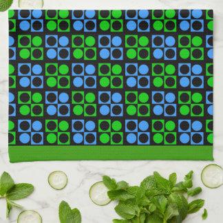 Retro Patten för modblåttgrönt kökshandduk