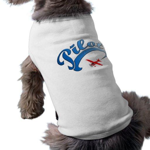 Retro pilot- grafiskt med blåtttext hund t-shirts