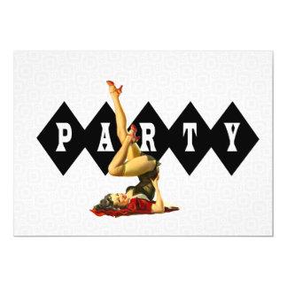 Retro pinupflickaparty 12,7 x 17,8 cm inbjudningskort