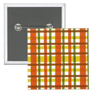 Retro pläd för 70-talorangegult standard kanpp fyrkantig 5.1 cm