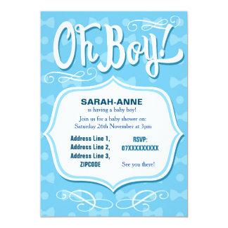 Retro pojkebaby showerinbjudan 12,7 x 17,8 cm inbjudningskort