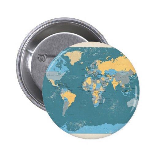 Retro politisk karta av världen knappar med nål